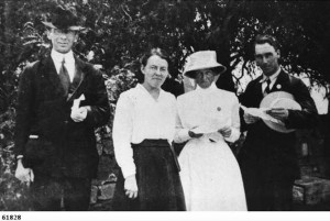 Presbyterian minister, founder and superintendent of the Australian Inland Mission photographed with Sister Kinnear, Elsie Coultas, and the Reverend J. Armour at Beltana.