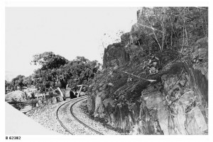 Railway track laid around a bend at the Pichi Richi Pass on the Great Northern Railway 1885.