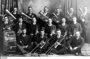 Brass band at Quorn, around 1890
