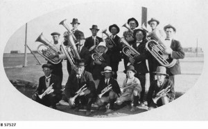 Brass band, thought to be at Quorn, around 1920