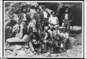 Workers from the Blinman open cut mine on their tea break, around 1916