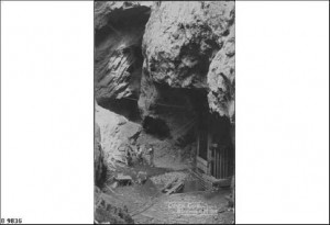 Men working in the open cut mine at Blinman, about 1907