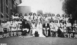 The cast in costume for the Quorn School production of Snow White, 1923