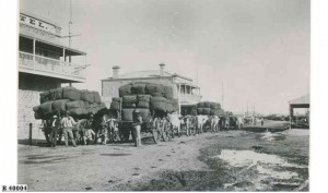 ullock team carrying wool to port. Port Augusta about 1889.